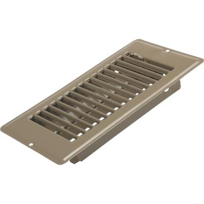 United States Hardware 4 In. x 8 In. x 1-5/16 In. Brown Steel Floor Register