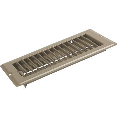 United States Hardware 4 In. x 8 In. x 9/16 In. Brown Steel Floor Register