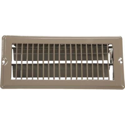 United States Hardware 4 In. x 10 In. x 11/16 In. Brown Steel Floor Register