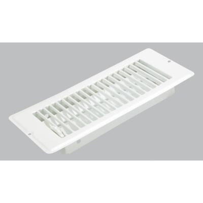 United States Hardware 4 In. x 10 In. x 1-5/16 In. White Steel Floor Register