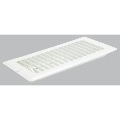 United States Hardware 4 In. x 8 In. x 9/16 In. White Steel Floor Register