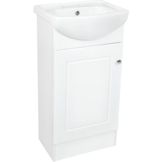 IC Fabac Dafne White 18 In. W x 34-1/2 In. H x 15 In. D Vanity with Vitreous China Top