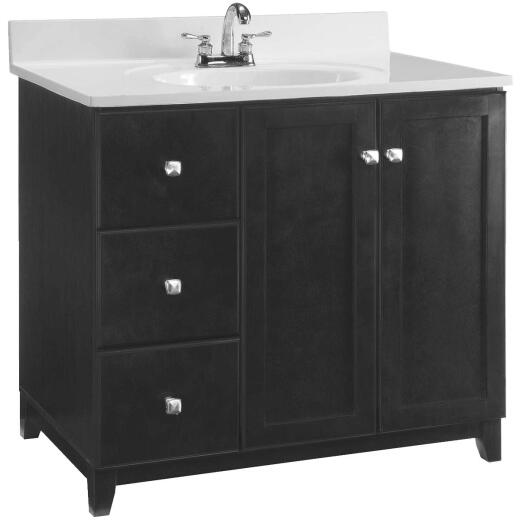 Design House Shorewood Espresso 36 In. W x 33 In. H x 21 In. D Vanity Base, 2 Door/2 Drawer