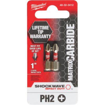 Milwaukee Shockwave Matrix Carbide 1 In. Phillips #2 Power Impact Screwdriver Bit (2-Pack)