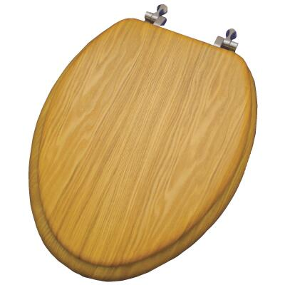 Home Impressions Elongated Closed Front Oak Veneer Toilet Seat
