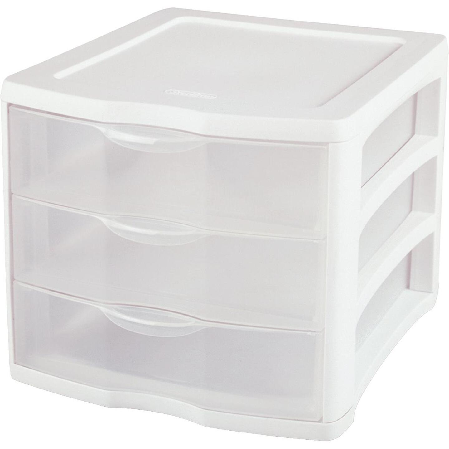 Sterilite ClearView 10 In. x 10 In. x 13.5 In. White 3-Drawer Storage Unit Image 1