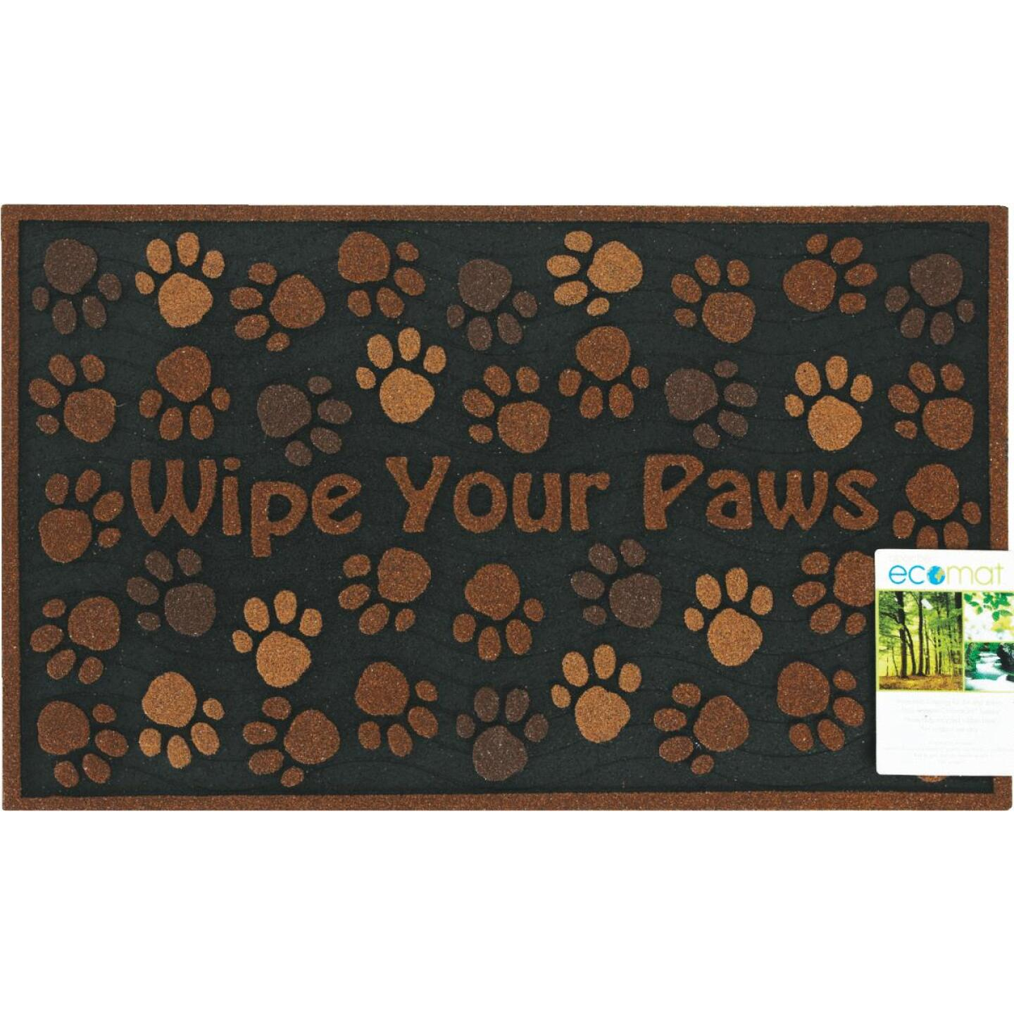 Apache Wipe Your Paws 18 In. x 30 In. Recycled Rubber Door Mat Image 2