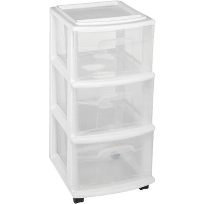 Homz 12 In. x 27 In. x 14 In. White 3-Drawer Storage Unit with Castors
