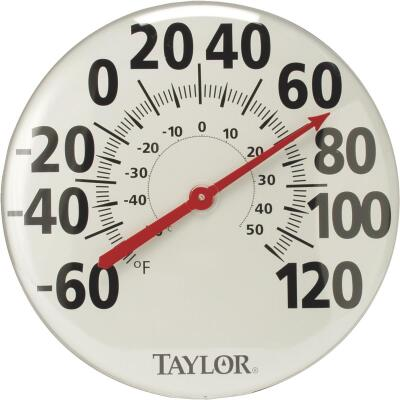 "Taylor 18"" Fahrenheit and Celsius -60 To 120 F, -50 To 50 C Outdoor Wall Thermometer"