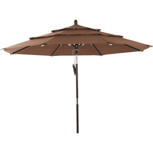 Outdoor Expressions 9 Ft. 3-Tier Tilt/Pulley Brown Patio Umbrella