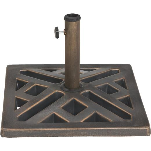 Outdoor Expressions 17 In. Square Bronze Polyresin Umbrella Base