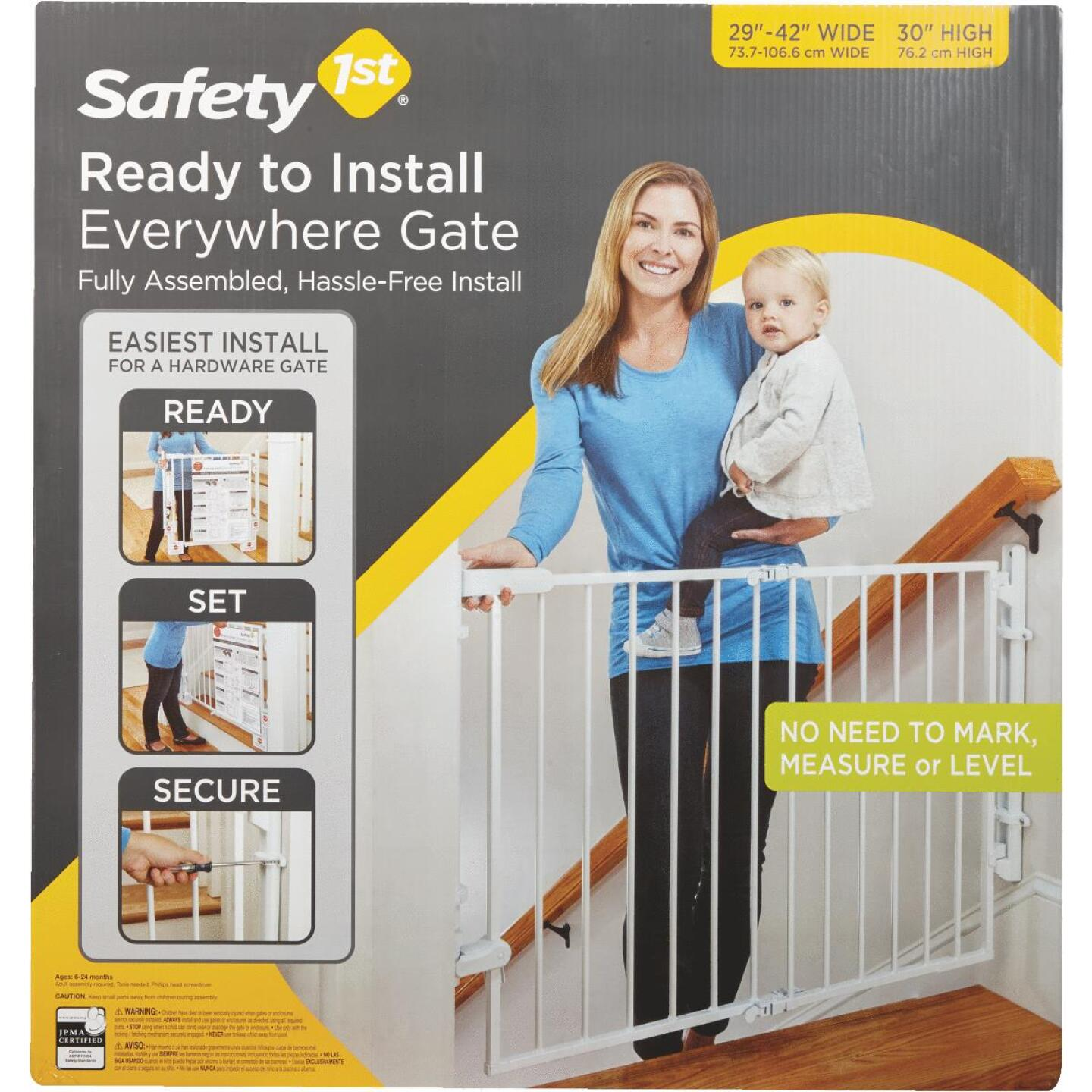 Safety 1 Ready to Install White Top of Stairs Safety Gate Image 1